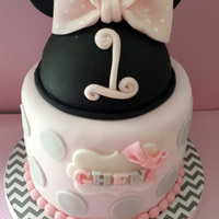Pink And Grey Minnie Mouse Inspired   Made this for the cutest little girl :) Her parents loved it.
