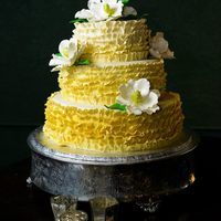 Yellow Ombre Ruffle Wedding Cake With Gumpaste Magnolias