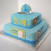 Sports Cake 2 tier buttercream cake with fondant sports decoration. For a 1st birthday