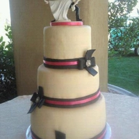 Ivory, Black, & Pink   Made this for my friend Marissa's wedding. First cake I made for an actual wedding event.