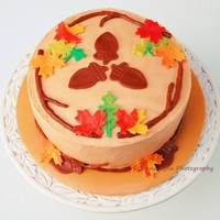 Simple Fall Cake This is a simple Fall cake with fondant leaves and SMBC. Popin Pumpkin flavor!