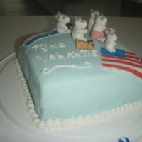Holiday Cake BC/Fondant cake for familie who were going to te USA on holiday. each mouse represents one of their group.