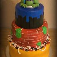 Ninja Turtle Cake Buttercream with fondant accents