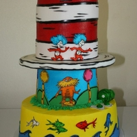 Dr. Seuss Cake Buttercream with fondant and gumpaste accents.