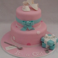 This Tiffany Inspired Cake Was Created For A Former Colleague Of Mine Who Was Having A Baby Girl The Booties Box Charm And Spoon Are All  This Tiffany inspired cake was created for a former colleague of mine who was having a baby girl. The booties, box, charm, and spoon are...