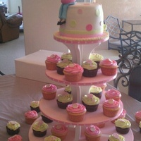 Mommy To Be Cupcake Tower For Dance Teachers Baby Shower   Mommy-to-be cupcake tower for dance teachers baby shower.