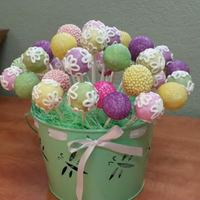 Spring Cake Pops That A Friend Requested For Her Wedding In Lieu Of A Cake.   Chocolate Cake Pops