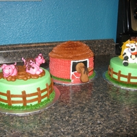 Triplets Farm Theme Birthday Cakes I made these cakes for a set of triplets who were turning 5. Animals are Fondant, cakes are choc w/ choc mousse filling & BC frosting....