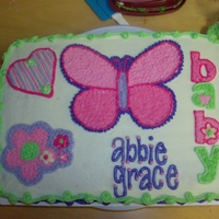 Butterfly Baby Shower Cake This cake was made to match Cater's Butterfly Baby Shower decorations!!