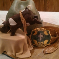 Bull Riding Grooms Cake Cowboy Hat cake, with modeling chocolate bull, belt & buckle!
