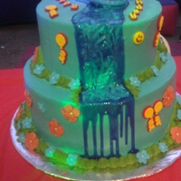 Ni Kai Cascade Cake Two tier cake Decorated with sugar flowers and cascade made with piping jell .