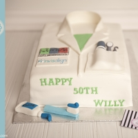 Lab Coat Cake (Orthodontist)  All fondant lab coat cake for an orthodontist. My first try at this cake after much inspiration on CC. The pocket as dental utensils and a...