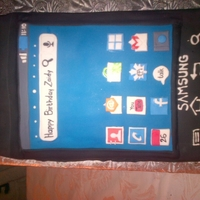 Samsung Captivate Cake  After seeing some incredible IPhone cakes I wanted to do a phone cake for my father the Android lover! I couldn't find any inspiration...