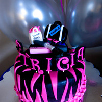 40Th Birthday (Pink/black Zebra) Makeup/travel/shoes A cake for a customer's sister's 40th birthday. She wanted something sassy so I went with a pink and black zebra motif, and added...