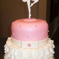 "Ballerina Cake Pink and white fondant covered 8"" and 6"" cakes. I traced the ballerina silhouette from an image out of fondant as well, and..."