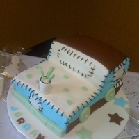 Train Baby Shower This was made to match the baby shower theme. Sheet cakes carved to shape and covered in fondant.