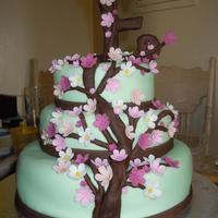 Personalized Cherry Blossom Tree Birthday Cake Made this beautiful cake from home, I made the tree branches and flowers with Fondant. I do not know how to price my cakes as I work from...
