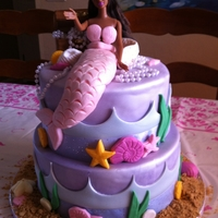 Mermaid Barbie Cake Done in pink, purple and blue pearl fondant with graham cracker sand