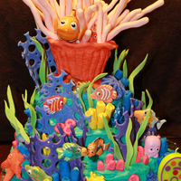 "2012 Birthday Cakes Finding Nemo cake I made for my son's 6th birthday. Cake is buttercream. The ""reef"" & sea anemone (formed over an empty..."
