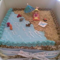 Beach Birthday Cake This cake was made for a 21st birthday. It is acutally sponge covered filled with jam and fresh cream. The sides are covered in cream and...