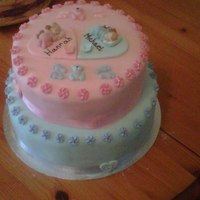 Christening Cake Two tier chocolate biscuit cake covered in butter icing and fondant.