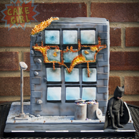 Batman Fire Cake  Modern Batman themed cake, the building stood at 10 inches tall and was vanilla cake with white chocolate ganache and raspberry jam. The &...