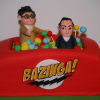 Bazinga!   Big Bang Theory cake for my brothers 21st :o) white chocolate mud cake with caramel IMBC filling and milk chocolate ganache