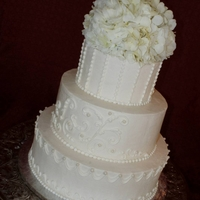 White Buttercream Wedding Cake   All Buttercream (hydrangea and rose topper)