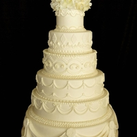 Texture-Piped Wedding Cake   All hand-piped, multiple times to create the textured look on all tiers (except swags the bottom tier of course)