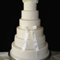 Diamonds Lace And Pearls Wedding All White 6 Tier Wedding Cake (Fondant)