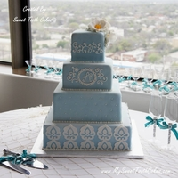 "Blue Bridal Cake 5"" x 5"", 8"" x 4"", 11"" x 5"", and 14"" x 4"" all square tiers (Edible Flowers)"