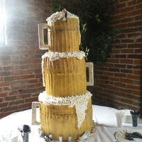 Bride And Groom Wanted 3 Beer Mugs Stacked For Their Wedding Cake This Was My First Wedding Cake Bride And Groom On Top Bride And Groom A  Bride and groom wanted 3 beer mugs stacked for their wedding cake. this was my first wedding cake. bride and groom on top. bride and groom...