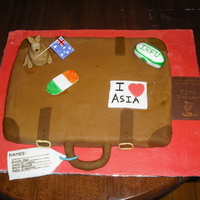 Leaving To Travel Cake Made for my four friends going travelling to Asia, Australia and to the rugby world cup in New Zealand