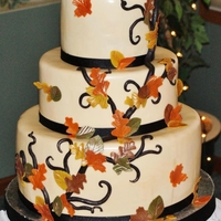 Fall Wedding Cake This was for my bff. I made it in ONE day!!! and had no rolling pin to roll out my fondant! It's all mmf and black candy clay branches...