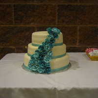 Teal Cascading Flowers This was a cake for our Pastor Appreciation day. I was inspired by a CCer, apieceofcake, with the ribbon roses. Thanks to everyone for...