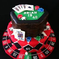 Casino Themed Birthday Cake Edible image used on cards, all other fondant accent