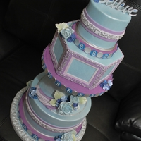 Blue And Purple Wedding   cake i did for cake central magazine. one of the photo not picked but i liked.