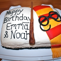 Harry Potter Cake  This is a cake I made for my kids joint birthday party. I used crusting buttercream with homemade fondant decorations. Looked better in...