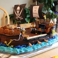Pirate Ship Birthday Cake  ideas inspired by photos on CC and coolestbirthdaycakes.com. Thanks for all the help! My son really wanted a pirate ship cake and he...