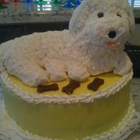 Dog Cake   dog is sculpted rice crispy treats