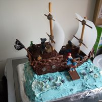 Pirate Ship Pirate ship cake, all edible! Happy to accept constructive criticism.