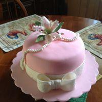 Pink With Handmade Pearls And Lilly, Birthday cake for daughter in law.