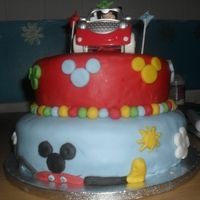 Mickey Mouse Clubhouse Cake This was a cake i made for a 1 year old boy who loves mickey. The cake is a 2 tier cake with the clubhouse on the 1st tier, The clouds are...
