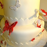 Red And White Butterfly 18Th Birthday Cake