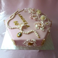 Pink Birthday Cake With Jewelry And Flowers