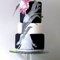Black And White Tiered Fondant Cake With Giant Butterfly