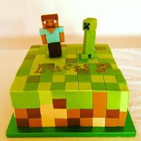 Mine Craft Mine Craft cake with guy and creeper