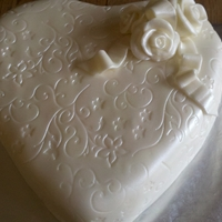 Simple Elegant Heart White Homemade Fondant, with a light spraying of Pearl Sheen with my NEW airbrush - LOVE IT!!!