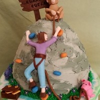 Quarater Quell Birthday 25th birthday cake for a young lady who is a rock climber, has a pet rhesus macaque monkey, and a pig, loves the Hunger Games, and purple...