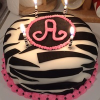 Zebra Birthday Cake Zebra cake with initial.